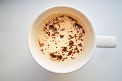 A cup of cappuccino or Vanilla Latte. stock photography