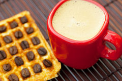 Cup of cappuccino wafers Stock Image