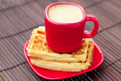 Cup of cappuccino wafers Stock Images