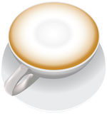 Cup Of Cappuccino. A white cup with cappuccino, a cup is on a saucer Stock Photo
