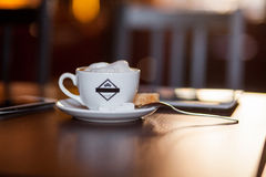 Cup of Cappuccino on wooden table. Cafe. Stock Images