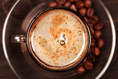Cup of cappucino with foam, closeup Stock Photos