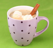 Cup of cappucino with marshmallows. And cinnamon on green background stock photo