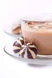 Cup of cappucino and striped c Stock Images