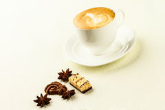 Cup of cappucino, sweet and spices. Porcelain cup of cappucino, sweet and spices on white background stock photography