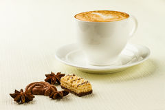 Cup of cappucino, sweet and spices. Porcelain cup of cappucino, sweet and spices on white background stock images