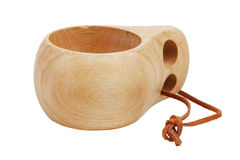 Cup, carved from wood with a leather strap Royalty Free Stock Images