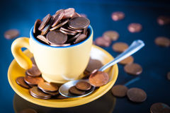 Cup of cents Royalty Free Stock Photo