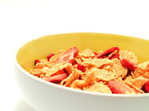 A cup of cereals 3. A lateral view of cup of cereals with white background Stock Photos