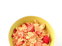 A cup of cereals. A top view of cup of cereals with white background Stock Images
