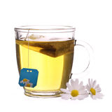 Cup of chamomile tea with chamomile flowers and tea bag isolated Stock Photos