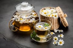 Cup of chamomile tea. Chamomile tea in a glass cup Royalty Free Stock Photography