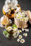 Cup of chamomile tea. Chamomile tea in a glass cup Royalty Free Stock Image