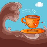 Cup Character with Cacao Surfing Stock Photography