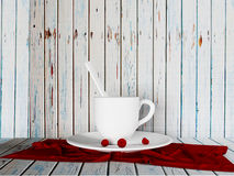 A cup and the cherries on the plate, 3d Stock Photos