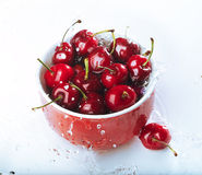 Cup of cherries Royalty Free Stock Photo