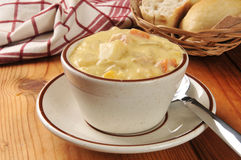 Cup of chicken chowder Royalty Free Stock Images