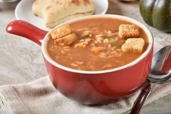 Cup of chicken gumbo soup with rice stock photos