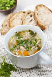 Cup of chicken rice soup Royalty Free Stock Image
