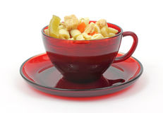 Cup of chicken rotini pasta soup Royalty Free Stock Photography
