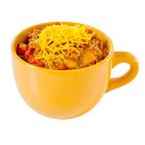 Cup of chili with cheese Stock Image