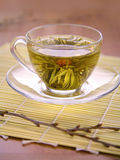 Cup of Chinese tea. At the Reed support stock photo