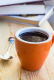 Cup of chocolate on wooden surface Royalty Free Stock Image