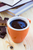 Cup of chocolate on wooden surface Stock Photos