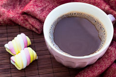 Cup of chocolate on wooden surface Royalty Free Stock Photos