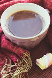 Cup of chocolate on wooden surface Royalty Free Stock Photo