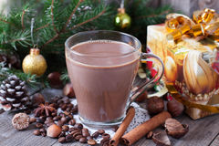 Cup of Christmas cappuccino. On holiday background Royalty Free Stock Photo