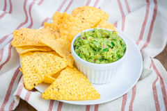 Cup with chunky guacamole Stock Images