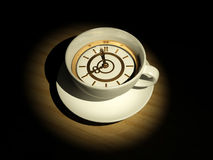 Cup with clock. Eight o'clock. 3d Royalty Free Stock Photography