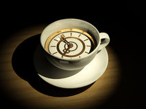 Cup with clock. Eight o'clock Royalty Free Stock Photography