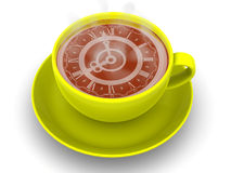 Cup with clock. Eight o'clock Stock Photography