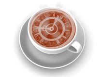 Cup with clock. Eight o'clock. Coffee Cup with clock. Eight o'clock 3d Stock Image
