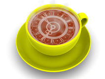 Cup with clock. Eight o'clock Stock Images