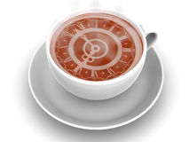 Cup with clock. Eight o'clock. Very beautiful three-dimensional illustration, figure. Cup with clock. Eight o'clock Royalty Free Stock Image