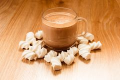 Cup of cocoa and march melow stock images
