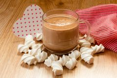 cup of cocoa marsh melow and hear royalty free stock image