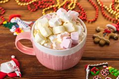 Cup of cocoa with marshmallow and home cookies. Christmas and new year holiday concept Royalty Free Stock Photos