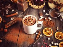 Cup with cocoa and marshmallow sprinkled Stock Photography