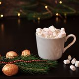 Cup of cocoa with marshmallow, spruce branch and Golden nuts on a vintage wooden surface with christmas lights on background, sele stock photos