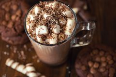 Cup of cocoa with marshmallows and chocolate chip cookies on dark wooden background. Close Up stock images