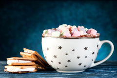 Cup cocoa with marshmallows stock photography