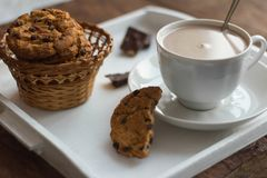 A Cup of cocoa and oatmeal cookies with pieces of chocolate on a wooden tray royalty free stock images
