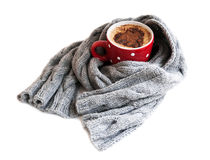 Cup of cocoa wrapped in grey scarf Stock Image
