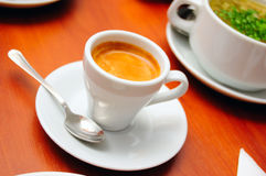Cup of cofee. Close-up of cup of cofee (espresso), shallow DOF Stock Images