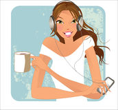 Cup of cofee- brunette Royalty Free Stock Image