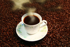 Cup of cofee on coffee brains. Stock Photos